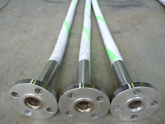 Code 940 cryogenic composite hose assembly complete with stainless steel ANSI 150 flanges