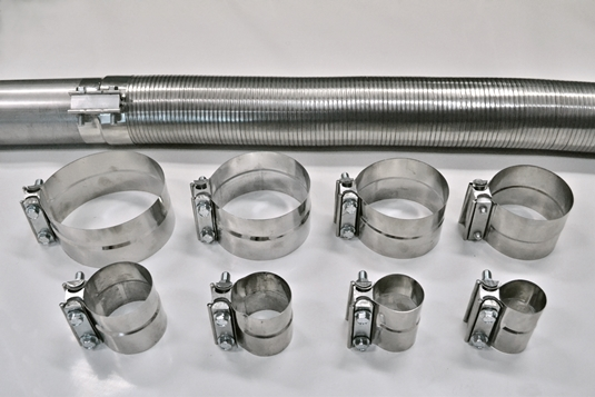 Flexible exhaust hose and lap band clamps