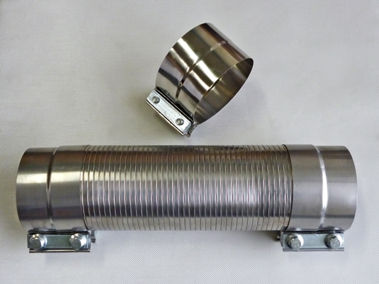 Polygonal exhaust hose cut to size complete with lap band clamps