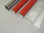 Silicone coated fibre glass fire proof sleeving Silica sleeving Fibre glass sleeving Stainless steel braiding