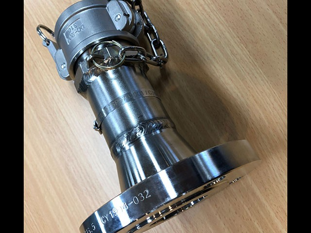 Convoluted Technologies Pty Ltd fabricated camlock adaptor with ANSI 150 flange