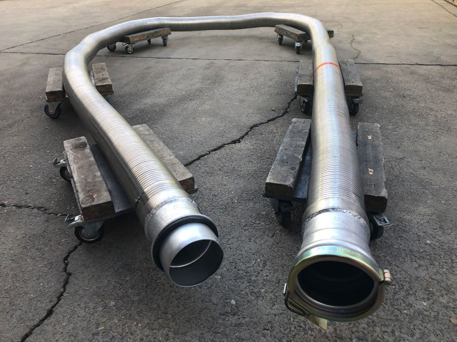 Our industrial interlocked hose with Travis coupling to be used on vacuum trucks