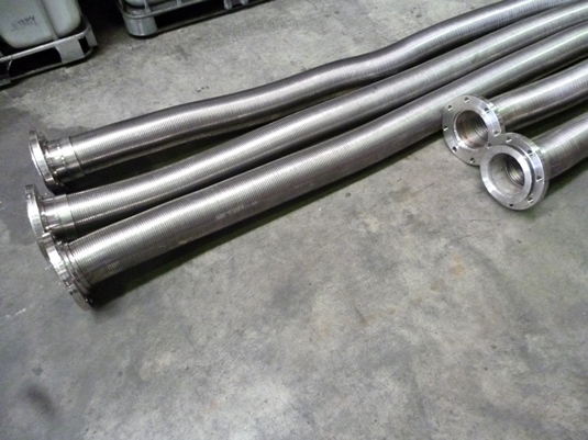 Stripwound 6 inch metal hose used for conveying alumina powder ash and feed grain
